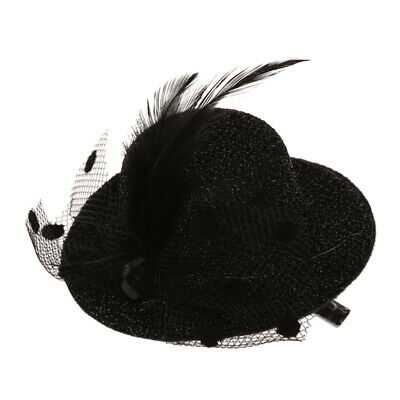 Feather Net Bow Hair Clip Black Mini Top Hat Party Lolita Cosplay Goth O5Y7