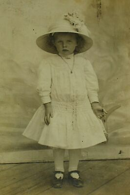 "Cabinet Card Cute Little Girl in a White Dress and Hat ""Frieda"""