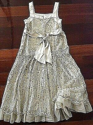 MONSOON GIRLS OCCASION DRESS 8-9 years, satin and shimmer, CREAM, EXC