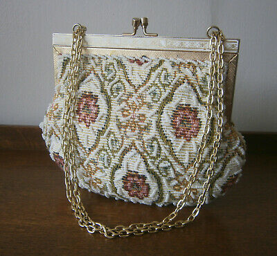 VINTAGE 1960s/70s BEAD EMBROIDERED FLORAL TAPESTRY BAG GOLD CHAIN WEDDING BRIDAL
