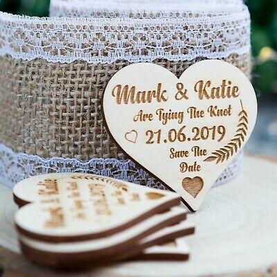 Wooden Save The Date Wedding Magnets Personalised Wood Fridge Rustic Heart Shape