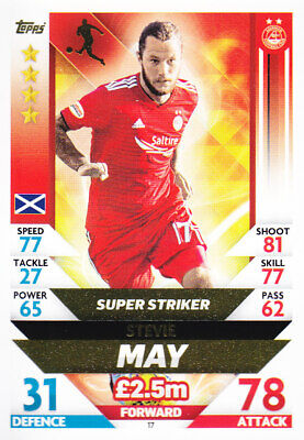 TOPPS MATCH ATTAX SPFL 2018-19 - Stevie May - Aberdeen - # 17 - SUPER STRIKER
