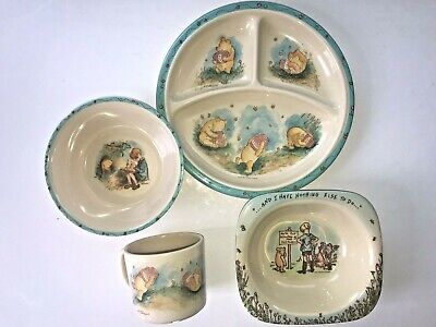 4 Childrens Disney Winnie The Pooh Dish Set Plate 2 Bowls Cup Selandia Design