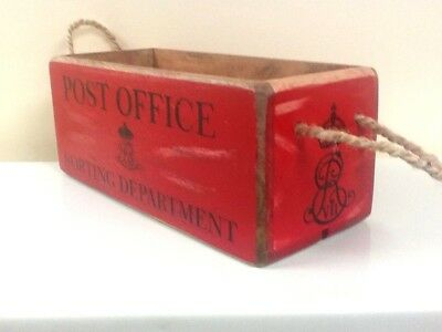 RED POST OFFICE STORAGE BOX. VINTAGE STYLE SMALL P.O CRATE FOR LETTERS etc.