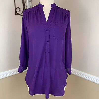 11792df0274 Stitch Fix 41 Hawthorn Colibri Solid Tab Sleeve Blouse Popover Top Purple XS