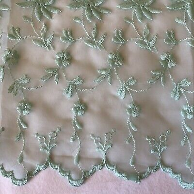 Mint Green Embroidered Scalloped Edge Sheer Fabric Wedding Prom Formal Dress 5yd