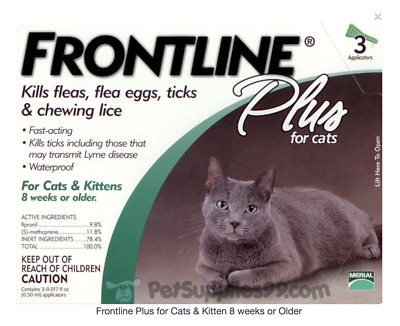Frontline Plus Flea, Tick and Lice Treatment for Cats - 3 Doses
