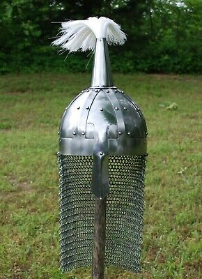 Norman Medieval Viking Spangenhelm Nasal Helmet with Chainmail Aventail & Plume