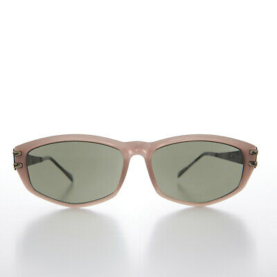 Muave Rectangular Sunglass with Art Deco Etched Temples - Arizona