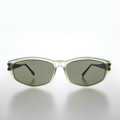 Green Rectangular Sunglass with Art Deco Etched Temples - Arizona