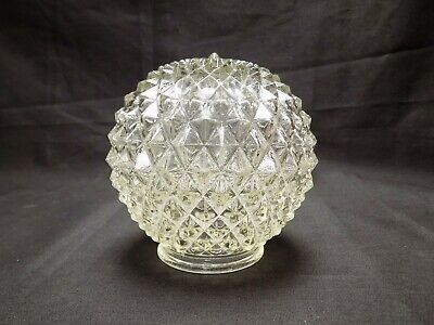 "Vintage Pressed Cut Clear Diamond Glass Lamp Light Shade Globe 3 1/4"" Fitter"
