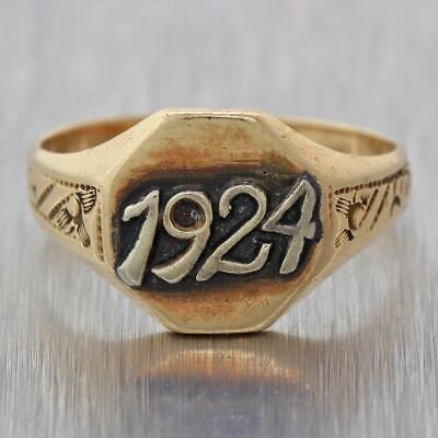 1924 Antique Art Deco Estate Solid 14k Yellow Gold Signet Ring