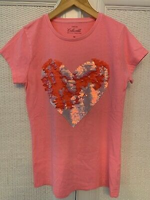 a22fb5a4 J.Crew Crewcuts Collectible Girls Two-Toned Sequin Pink Heart T-Shirt,