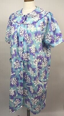 Vintage 60s 70s Purple House Coat Dress Floral Lace Smock Robe Pockets XL 40