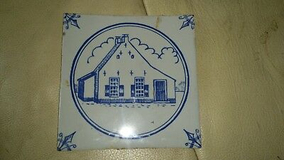 Antique Dutch? Delft Tile of naive Church. Very Nice Tile!