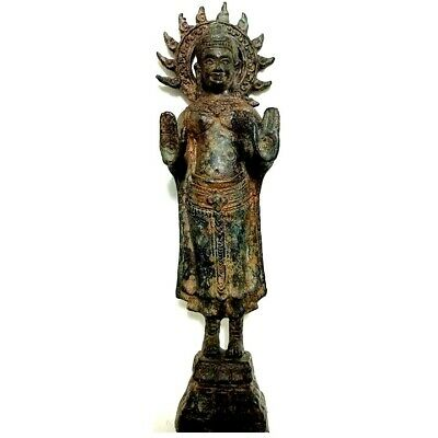 12 inches Thai Antique Statue Hindu God Abhaya Protection Bayon Khmer Style Camb