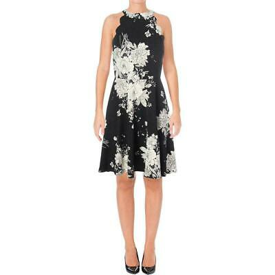 bc4d0f539667 Aqua Womens Skater Fit N Flare Dress Size S Black White Floral Scalloped  Halter