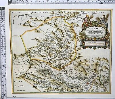 Historic Antique vintage Old Map: Upper Tweedsdale,  Scotland 1600s REPRINT