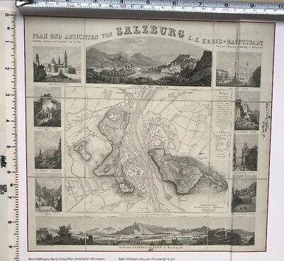 "Antique vintage historical map 1800s: Salzburg, Austria 10 X 9.5"" Reprint 1829c"