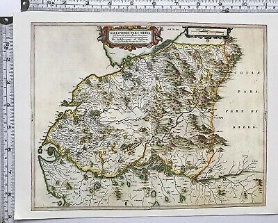 Historic Antique vintage Old Map: West Kirkudbright,  Scotland 1600s REPRINT
