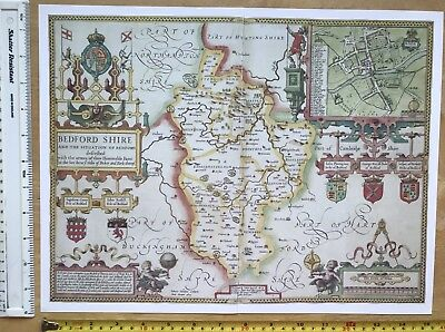 "Old Tudor map of Bedfordshire, England: John Speed 1600's 15"" x 11 (Reprint)"