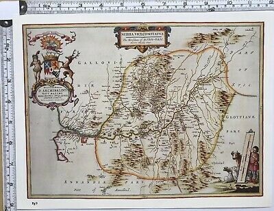 Historic Antique vintage Old Map: Nithsdale, River Nith,  Scotland 1600s REPRINT