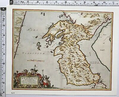 Historic Antique vintage Old Map: Knapdale, Loch Fyn,  Scotland 1600s REPRINT