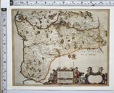 Historic Antique vintage Old Map: East Kirkudbright,  Scotland 1600s REPRINT