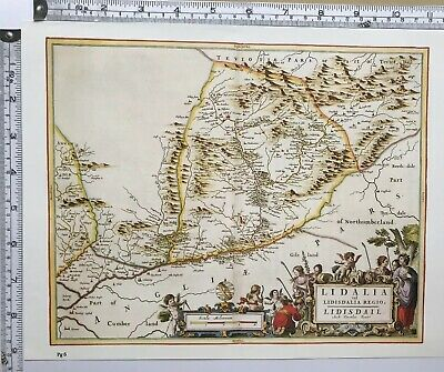 Historic Antique vintage Old Map: Liddesdale, Liddel  Scotland 1600s REPRINT