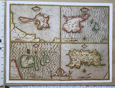 Old Tudor map Jersey, Guernsey, Holy, Farne, England: John Speed 1600's Reprint