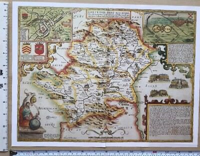 England John Speed 1600s Reprint Old Antique Collectable Tudor map of Yorkshire