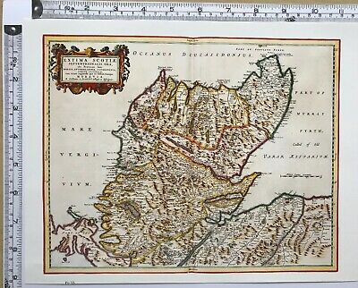 Historic Antique vintage Old Map: Northern Scotland 1600s REPRINT Gordon, Blaeu