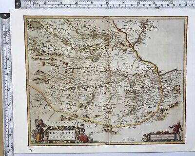 Historic Antique vintage Old Map: Teviotdale, Borders  Scotland 1600s REPRINT