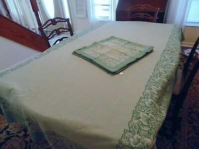 Vintage fruit tablecloth and napkin set, made in Portugal shades of green