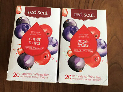 2 Packs of 20 RED SEAL SUPER FRUITS Caffeine Free Tea Bags - Hot or Cold - NEW