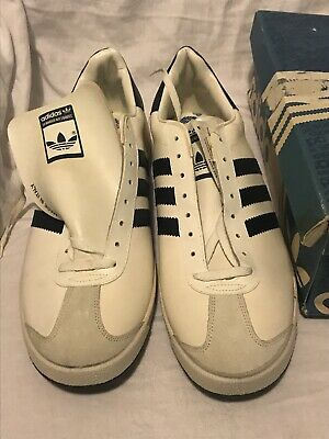 *ADIDAS BORNEO 80's Vintage Deadstock Trainers WHITE/NAVY MADE IN ITALY UK11.5*