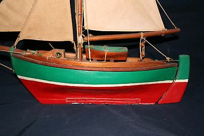 CLASSIC SAIL .antique 1920's gaff rigged sailboat wood 14 inch hand made