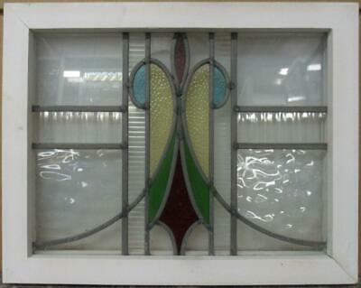 "OLD ENGLISH LEADED STAINED GLASS WINDOW Gorgeous Sweep Design 18.5"" x 14.5"""