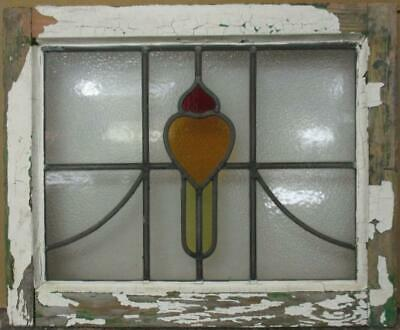 "OLD ENGLISH LEADED STAINED GLASS WINDOW Pretty Heart & Sweep 20.25"" x 16.5"""