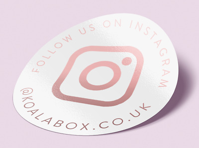45Mm Personalised Instagram Rose Gold Foil White Round Labels Stickers