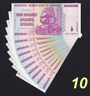 10 Pieces Lot Zimbabwe 500 Million Dollars Banknote UNC AA/AB+ P82-10