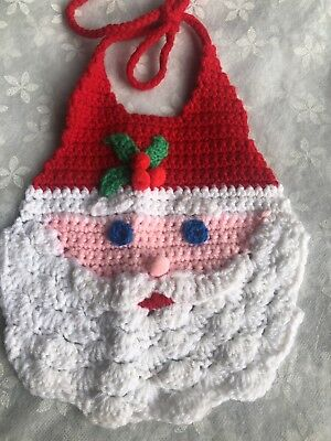 Vintage Crochet Santa Child Bib Handmade Super Cute Christmas Baby Bib