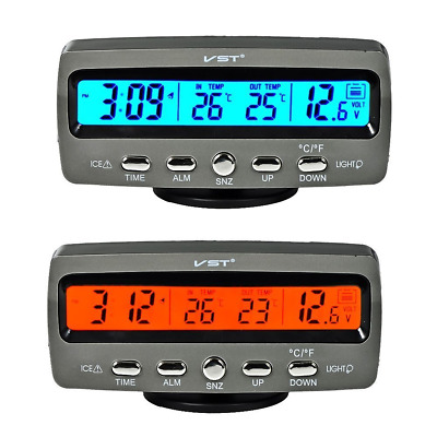Itian Multifunctional 4 in 1 Car Digital Clock, In/Out Thermometer, Voltage