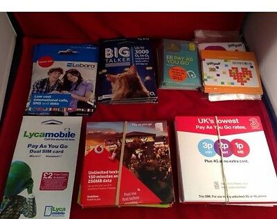 joblot Wholesale All UK Network Mix Simcard 3G Vodafone O2 EE Network Brand New