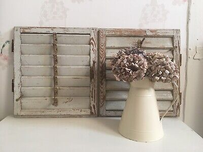 Vintage Brocante Wooden Shutters Antique French Reclaimed Shabby Chic