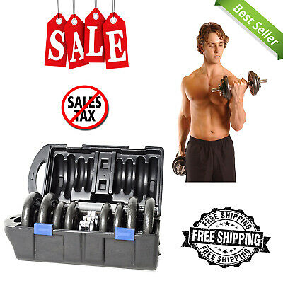 Cap Barbell 40 Pound Adjustable Dumbbell Set With Case Durable Iron Plates New