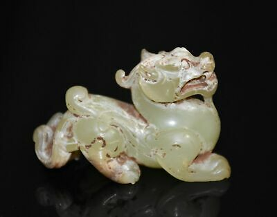 Chinese Jade Culture Han Dy Style (He Tian) Yellow Jade Strange Animal Statue
