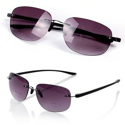 Rimless Bifocal Sunglasses Reading Glasses +1.0/+1.5/+2.0/+2.5/+3.0/+3.5 Unisex