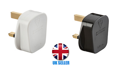 3 Pin UK 13A Plug Top with 13A Fuse - Black and White (Screw Cord Grip)