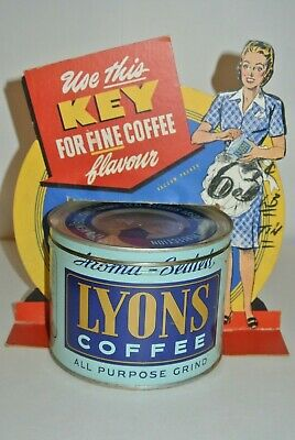 RARE Vintage Antique Tin Can & Advertising Standee LYONS COFFEE 1lb